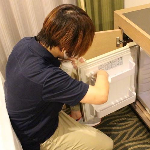 清掃の際、多くの方が触れる箇所の消毒、除菌対応を徹底しております。