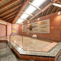【*龍馬の湯】女湯。主浴槽の壁面には龍馬の人物相関図が。