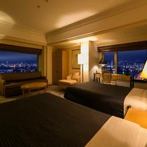 【クラブコーナーツイン】52平米・17-19階・神戸市街と六甲山系の両方の夜景が楽しめるお部屋。