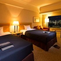 【クラブデラックスツイン】36平米・17-20階・六甲山側。高層階からの美しい夜景を。