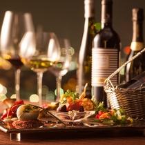 【Wine on the Table】1プレートディッシュ&食前酒&赤白ワインのフリードリンク90分