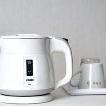 <アメニティ>客室では、ハーブティーや緑茶でリラックス。ロビーのエスプレッソもご自由にどうぞ。