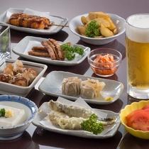 串かつや枝豆、ポテトフライなど10種の選べるおつまみにワンドリンク付き!