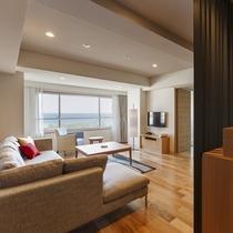 【展望風呂付き 平成モダンツイン】函館の海を眺めるお部屋もございます(眺望指定不可)
