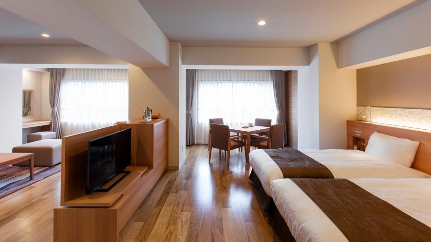 【平成モダン ツインルーム】リビングとベッドルームそれぞれに、朝の爽やかな光が差し込みます。