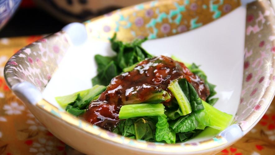 地産食材の『雪菜』の梅果肉ソース