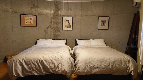 ・リビングルーム+ベッドルームの広々洋室【ひのき温泉付き】