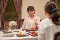 わんちゃんとご一緒にお食事をお楽しみいただけます