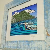 【館内】若旦那はサーフィン大好き!!お客様からもらったハワイのアート作品です☆