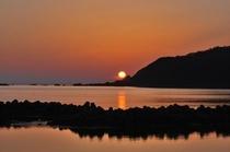 男鹿半島で見た夕日。
