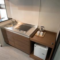 【客室設備】簡易キッチン・フロントにて調理器具貸出してます。