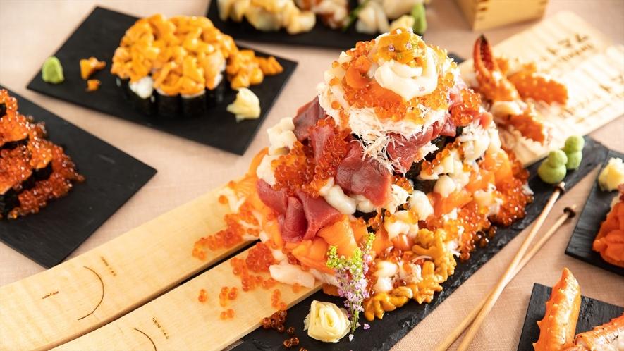 【海鮮こぼれフェス】メガこぼれ寿司とスキー板プレート
