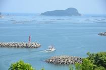 当館裏側からの景色※船が出港。