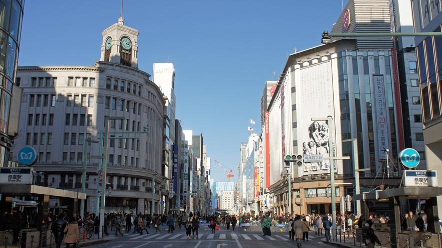 銀座の街並み★中央通りまですぐ!銀座の有名な和光時計台まで徒歩6分ほど