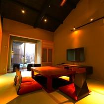 1階 居間(リビング) リビングテーブルは 冬は掘りごたつとして使用できます。WI-Fi あり