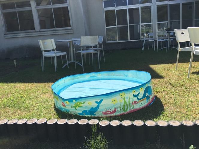 チビッ子にはプールで水浴びが大人気