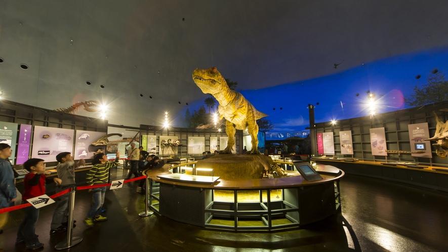 動く恐竜模型や貴重な化石が展示されている福井県恐竜博物館