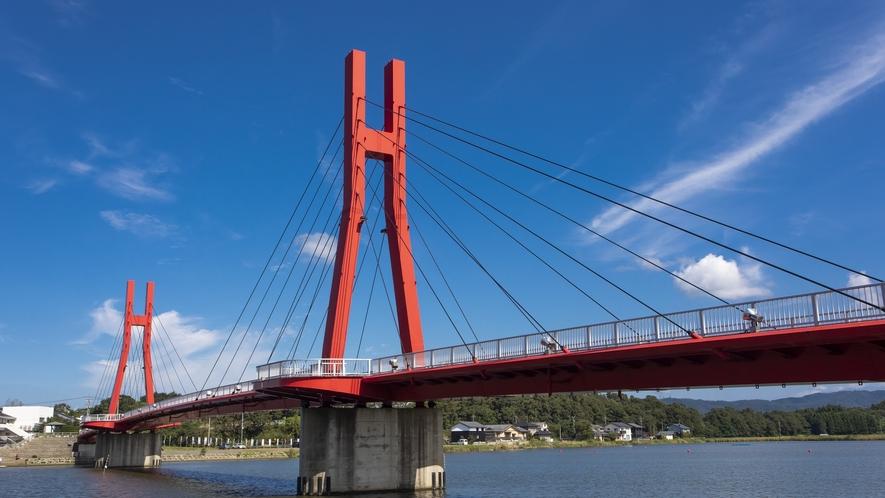 自転車・歩行者専用のアイリスブリッジは北潟湖畔公園と北潟湖畔花菖蒲園を結んでいます