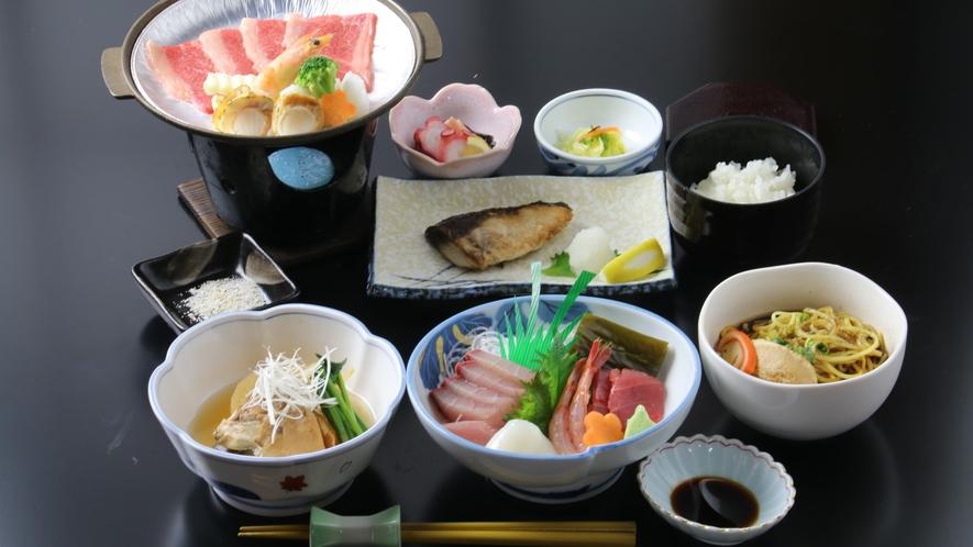 16:9_☆料理_一例_海鮮BBQ+ブラックラーメン_全体