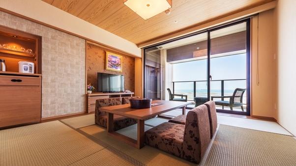 【特別室】和洋室(半露天風呂+8畳+ツイン)海側