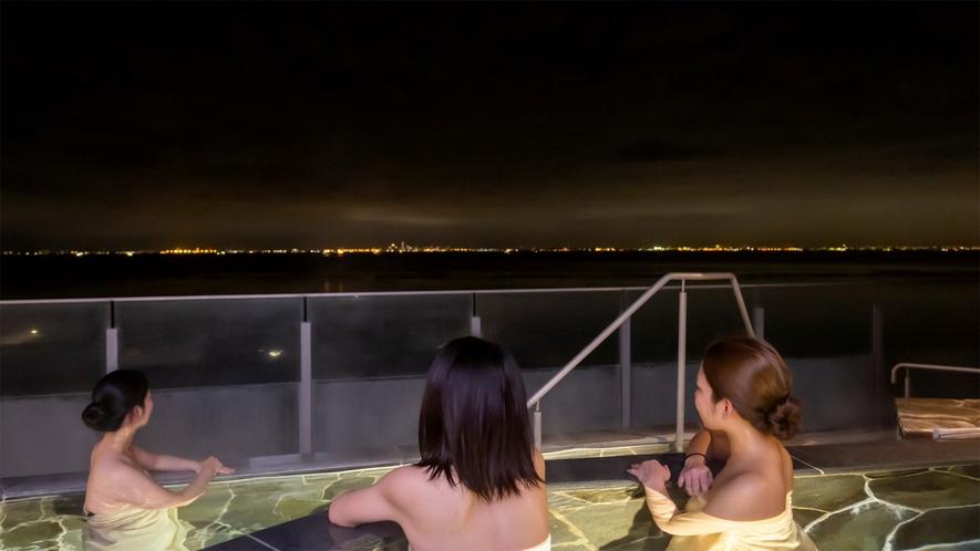 *【富士見亭 最上階 5種の段々露天風呂天の川(一例)】夜景を眺めてのんびりリフレッシュ。