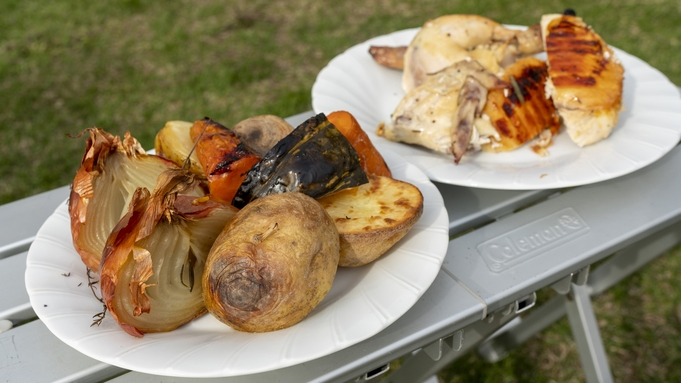 【手ぶらBBQ&コテージ宿泊】コテージ横で安心♪ダッチオーブンで焼く贅沢丸鶏ローストチキンプラン