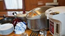 使い勝手の良いキッチンには調理器具を完備しております。