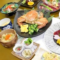 *左)深川ポークや蟹の和食コース