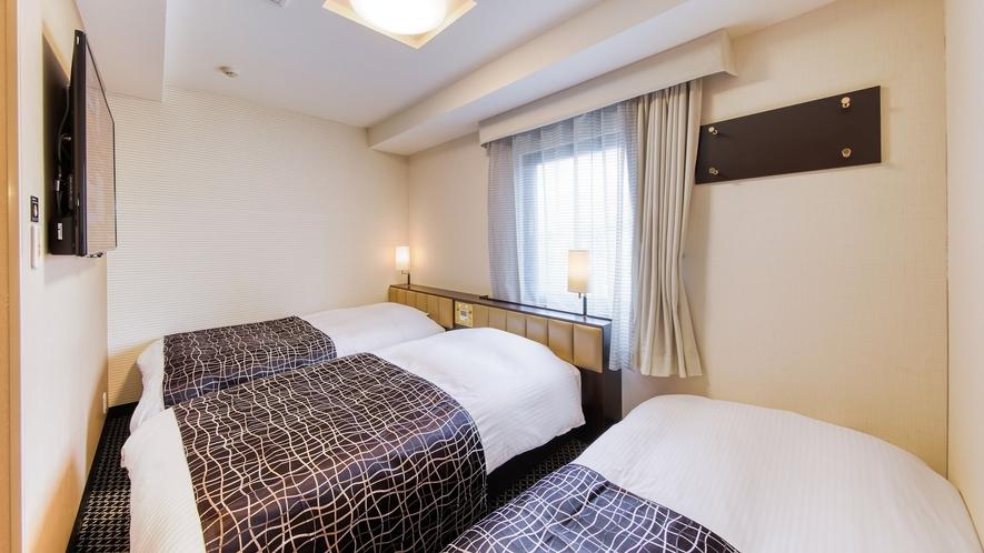 トリプルルーム(広さ18㎡/ベッド幅110cm×2台、ソファーベッド1台)