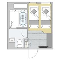 客室図面/コージーツイン(cozy twin)/アマネクダブルへの変更も可能