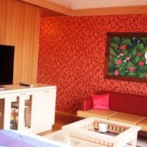 【スタンダードダブル】リゾート風のインテリアがオシャレなダブルベッドのお部屋です。