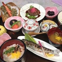 【夕食一例】地産地消を基本とした季節変わりのお料理