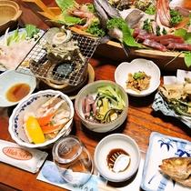 *【夕食一例】目の前の海で獲れた魚介類を使った磯料理