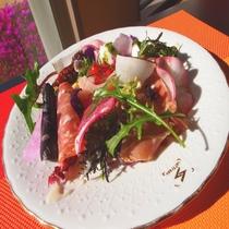 前菜:イタリア産プロシュート、ミラノサラミなど盛り合わせ。