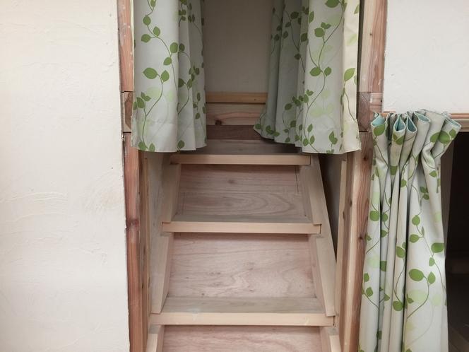 秘密基地型二段ベッドのドミトリー 二段ベッドの階段
