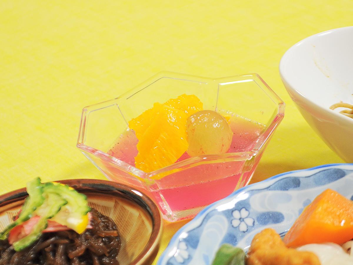 【夕食の一例】食後はさっぱりと手作りのゼリーをどうぞ♪