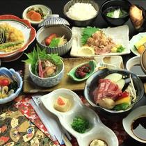 【ご夕食一例】黒毛和牛の陶板焼き、黒薩摩鶏刺し など、鹿児島の旬のものをご用意しており