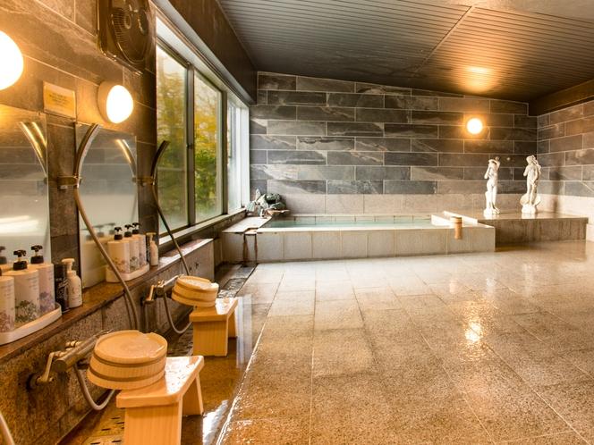 【大浴場】大涌谷温泉を引湯した硫黄の匂い漂う白濁の貴重な温泉
