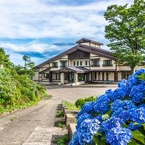 *【外観】毎年6月頃には紫陽花が咲き乱れ、華やかさが増します。