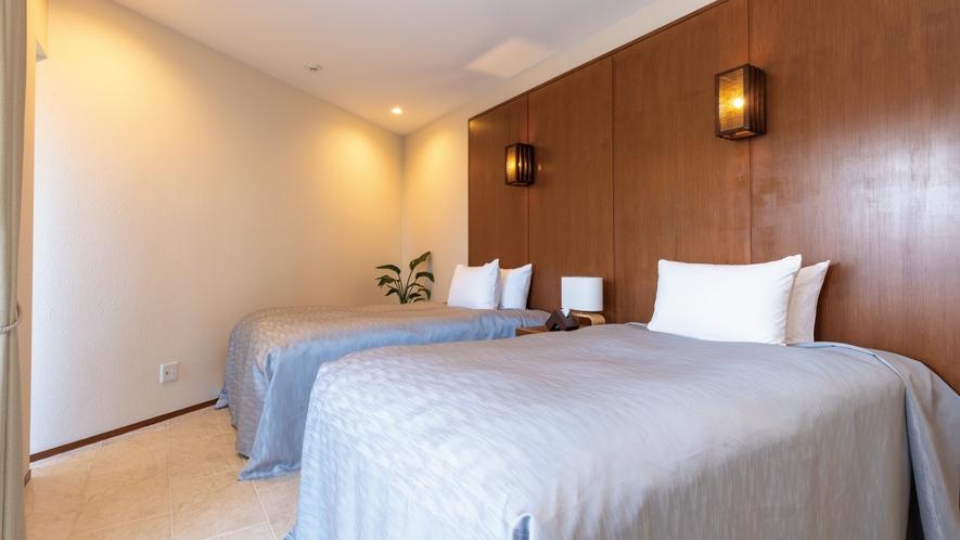 【海】120cm幅の広々ベッドを2台、2部屋に完備