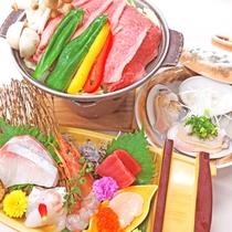 *【2食付】2018年6月~メニュー一新!舟盛とお肉と地元の味覚がセットになった基本料理&ブッフェ♪