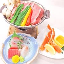 *【量少なめ夕食】2018年6月~メニュー一新!お刺身3種盛りとお肉と海鮮料理+ブッフェのお夕食です