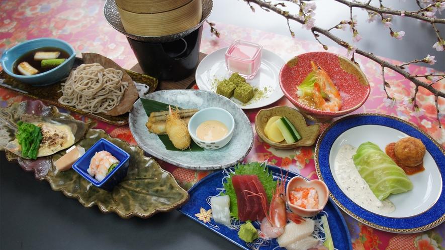 *「四季の膳」春/割烹70年の歴史を誇る佐渡見亭の会席料理。山の恵みと海の幸がお膳に広がります。