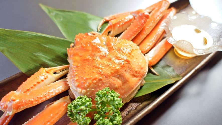 *料理一例/追加オプションもできる釜揚げずわい蟹。お召し上がり後は甲羅酒で一献♪
