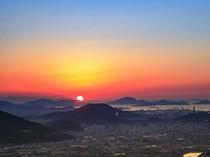 ホテルからの景観(冬の夕陽)