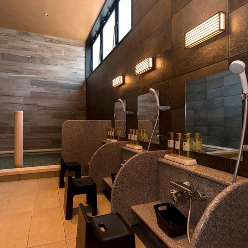 1階 女性大浴場 洗い場