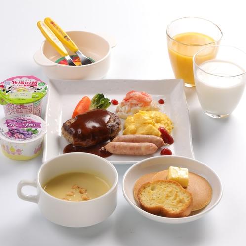 お子様朝食◆ジューシー煮込みハンバーグとふわとろスクランブルエッグ◆