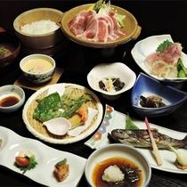 *夕食一例/豪雪地・松之山ならではの食文化と、栄養豊富な山の恵みをお楽しみください。