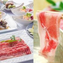 【名嘉真会席】綺麗なサシ、上質な脂の旨味が特徴の沖縄ブランド「あぐー豚」。芳醇な旨さをすき焼で堪能