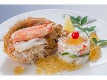 夕食「毛ガニむき身の土佐酢ジュレ」(調理例)